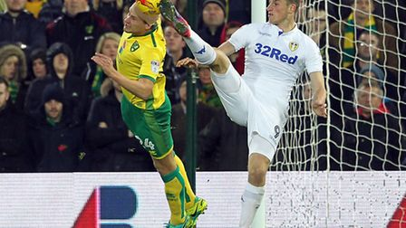 Ryan Bennett puts his head where it hurts during Citys 3-2 home defeat to Leeds. Photo: FOCUS IMAGES