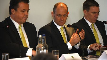 Alex Neil, centre, pictured alongside Jez Moxey, left, and technical director Ricky Martin at Novemb