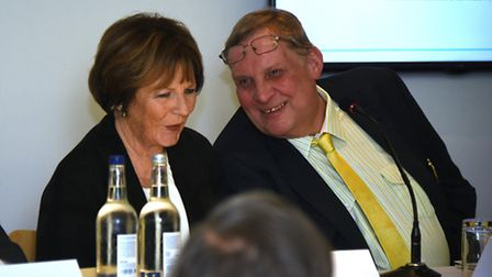 Norwich City majority shareholder Delia Smith and fellow director Michael Foulger. Picture: ANTONY K