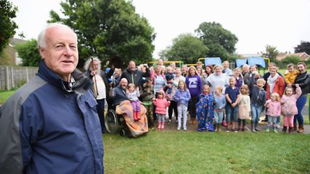 Derek Ward at the Kings Head Meadow playground removal protest, Wymondham. Picture: DENISE BRADLEY