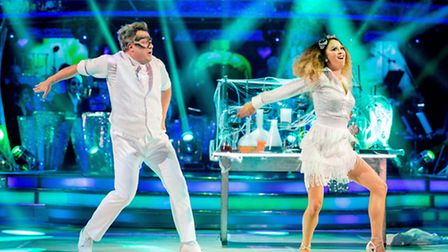 Ed Balls MP and Katya Jones during Saturday's live edition of the BBC1 show, Strictly Come Dancing.
