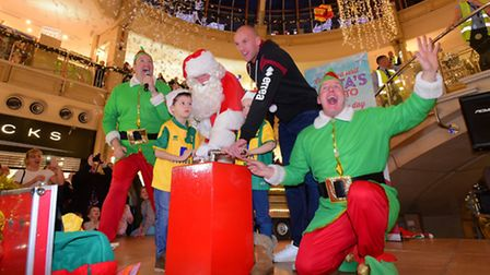 Christmas fun at Castle Mall, Norwich for the switching on of the 2015 lights by NCFC's John Ruddy a