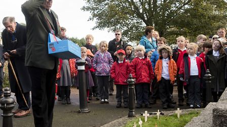 Laying of the cross on Armistice day at Southwold war memorial.PHOTO: Nick Butcher