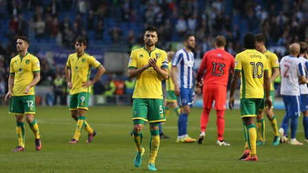 The Norwich City players at the end of the Brighton defeat. Picture: Paul Chesterton/Focus Images