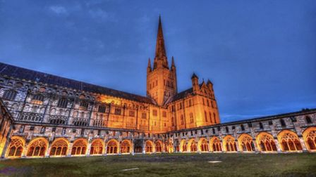 Norwich Cathedral at night by @benkeat88