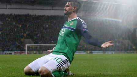 Northern Ireland's Kyle Lafferty celebrates scoring his sides first goal of the game during the 2018