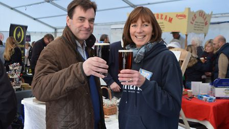 Rupert Farquharson, MD of Woodforde's, with the Woodforde's shop manager, Juliet Jones.