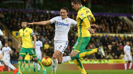 Kyle Lafferty of Norwich scores his sides 2nd goal during the Sky Bet Championship match at Carrow R