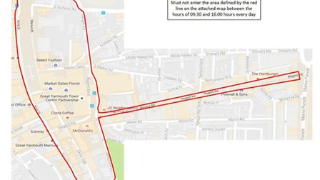 Map showing between the red lines where Stuart Howells can't enter between 9.30pm and 4pm