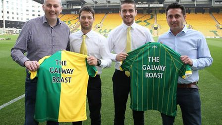 The Galway Roast owners Niall Murphy, left, and John Murphy with Norwich City players Robbie Brady a