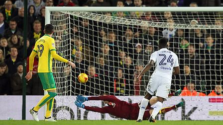 Norwich City keeper Michael McGovern fails to claw out Ronaldo Vieira 's low strike. Picture by Paul