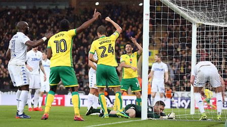 Rob Green cold only parry Robbie Brady's looping header against Luke Ayling for Norwich City's opene