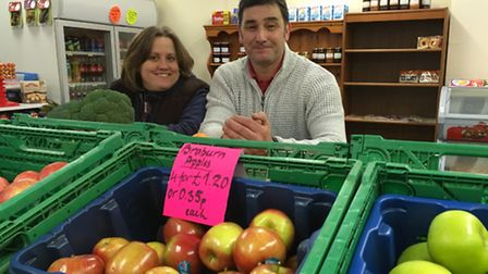 Owners of Clova Greengrocers in Sprowston, Diana and Andy Ross. Picture: SOPHIE WYLLIE