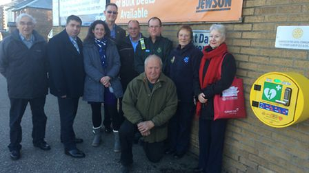 The Rotary Club of Diss and District with the latest defibrillator at Jewson Ltd in Victoria Road. P