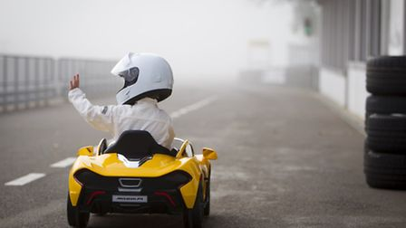 Leo, four, puts the electric Ride-on McLaren P1 to the test.