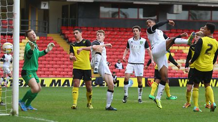 Rhys Brown scores his side's only goal as Norwich City U18s are beaten 3-1 by Watford at Vicarage Ro