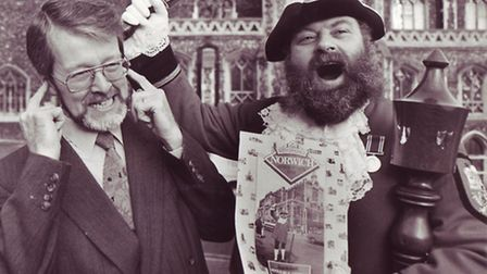 At full blast! David Bullock deafens a listener on one of his city duties, 07.01.87. Photo: Archant