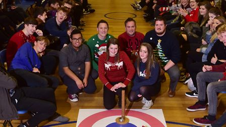 The finalists, Spice Kurls and The Best Team Ever 2, at the annual Christmas kurling competition. PH