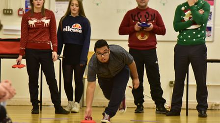Bungay Sixth Form students and teachers take part in a special Christmas kurling competition. PHOTO: