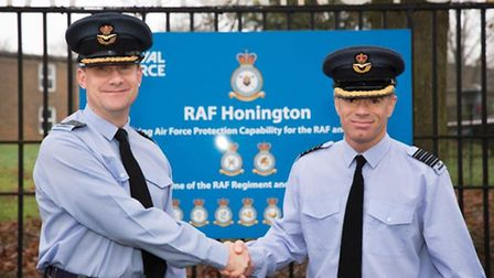 New RAF Honington station commander Dave Tait MBE (right). Picture by senior aircraftman Will Drumme