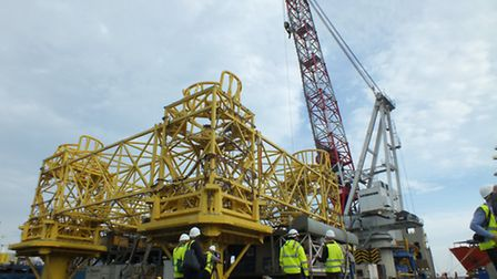 The installation vessel Giant 7 being used to install turbine jackets at Wikinger.