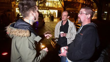 The People's pic feeding the homeless on Norwich Haymarket. People's picnic founder Dale Parker (le