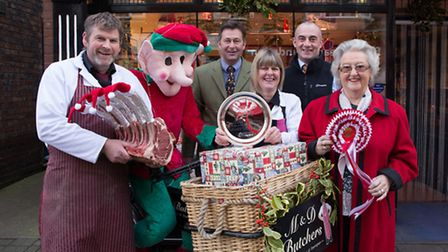 M & D Butchers in Sheringham won the best window display. Martin Rowe and Debbie Cutting are picture