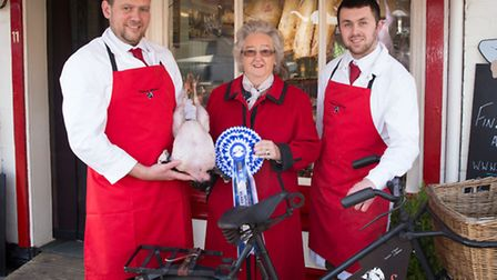 Coxfords Butchers in Aylsham were runner-up in the best counter display. Johnny Payne and Jason Gibb