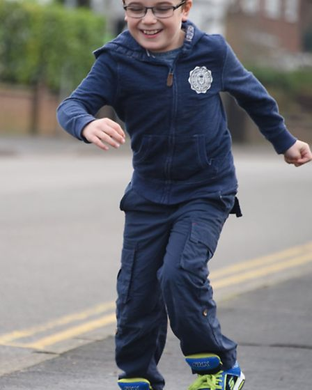 Blake Barley, eight, enjoying running five years after his life-changing operation which enabled him