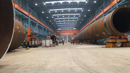 The monopiles, part of the foundations, for the £1.5bn Galloper Wind Farm.