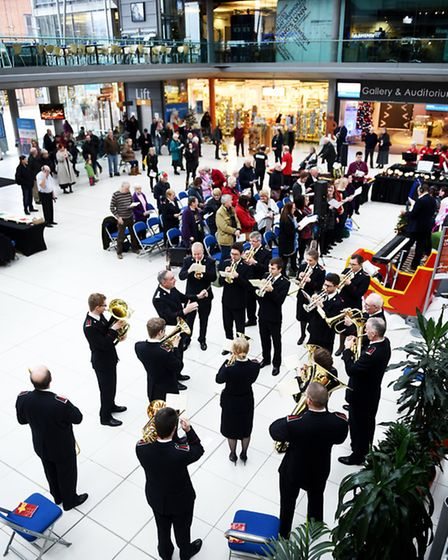 The Salvation Army band playing Christmas carols at The Forum in Norwich.Picture: ANTONY KELLY