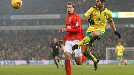 Nelson Oliveira tries his luck against Huddersfield at Carrow Road. Picture: Paul Chesterton/Focus I