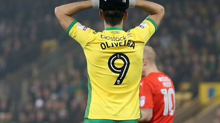 Nelson Oliveira of Norwich rues a missed chance during the Sky Bet Championship match against Hudder