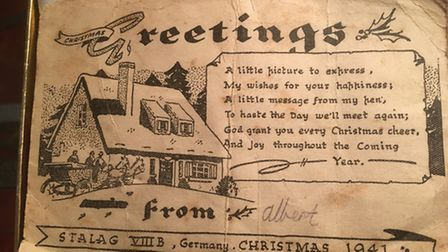 The Christmas card sent by Albert Symonds from a German prisoner of war camp