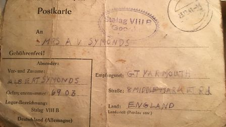 The back of the Christmas card sent by Albert Symonds from a German prisoner of war camp