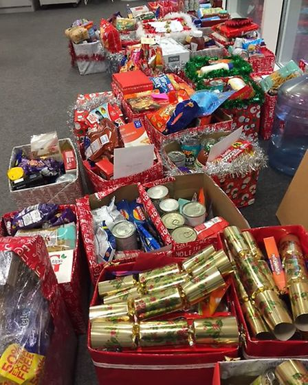 Boxes of donations collected by students and staff at Thetford Academy, which are being donated to T