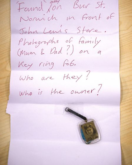Keyring with photographs found near the John Lewis Store.Picture: ANTONY KELLY