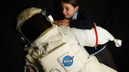 Wensum Junior School Science Fair. Hollie Bourne, 10, with a NASA astronaut.Picture: ANTONY KELLY