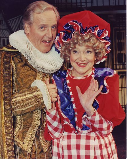 Nicolas Parsons and Dora Bryan at Norwich Theatre Royal panto on the 15th December 1993. Photo: Arch