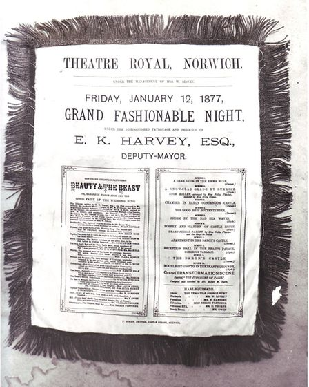 Theatre Royal Norwich programme for Friday 12th January 1877. Taken on the 5th February 1964. Photo: