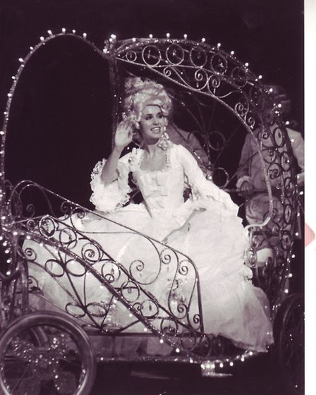 The glittering scene as Cinderella (Jayne Sullivan) sets off for the ball in her crystal coach, 20th