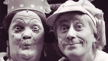 Jack and the Magic Beanstalk, Michael Sharrell Martin as the Dame and Geoffrey Hayes as Simple Simon