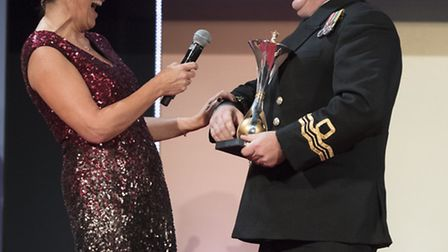 Lieutenant Commander Joe Meadows at the National Military Awards, pictured with Lorraine Kelly. Pict