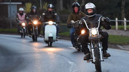 Members of the Spooner Row Half Hundret Club on their classic mopeds at Attleborough who have raised