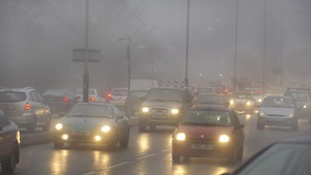 File picture of traffic build up in the fog on St Crispins Road in Norwich. Photo: Angela Sharpe