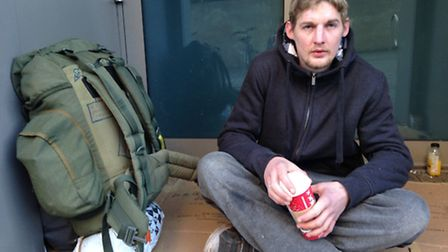 Charlie Jennings, who is homeless in Norwich.