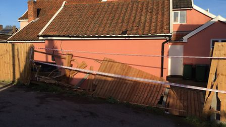 Damage to buildings in a cul-de-sac off Denmark Street, Diss. Picture: STUART ANDERSON