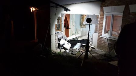 A car crashed into a building in Diss. Picture Twitter/SouthNorfolkPolice