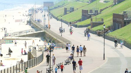 A busy beach and promenade at Gorleston.A weekend of warm and sunny weather.May 2012 Picture: James