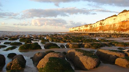 Hunstanton Beach lit by the late afternoon sun